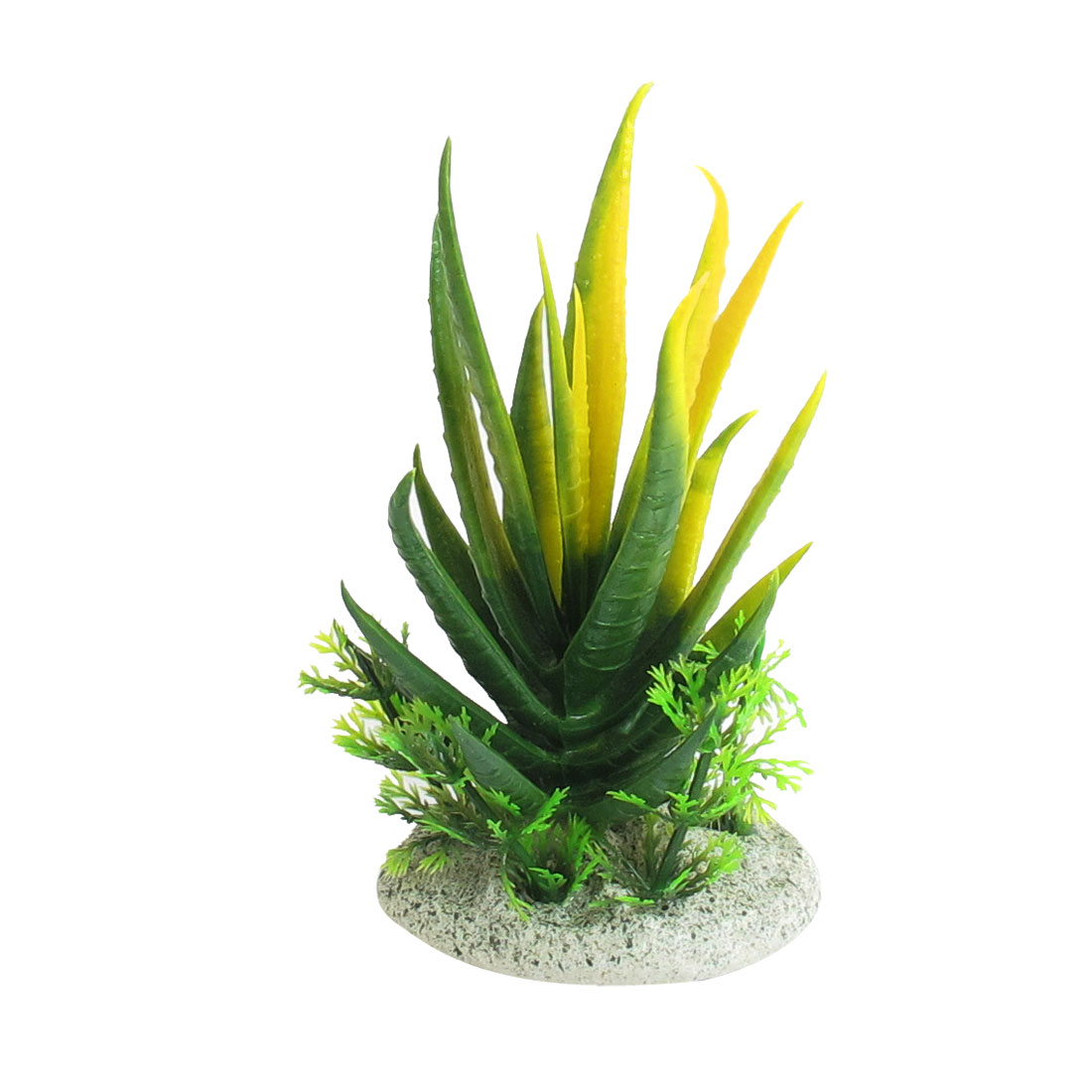 "Aquarium Green Yellow Manmade Water Grass Plants Decoration 4.1"" Height"