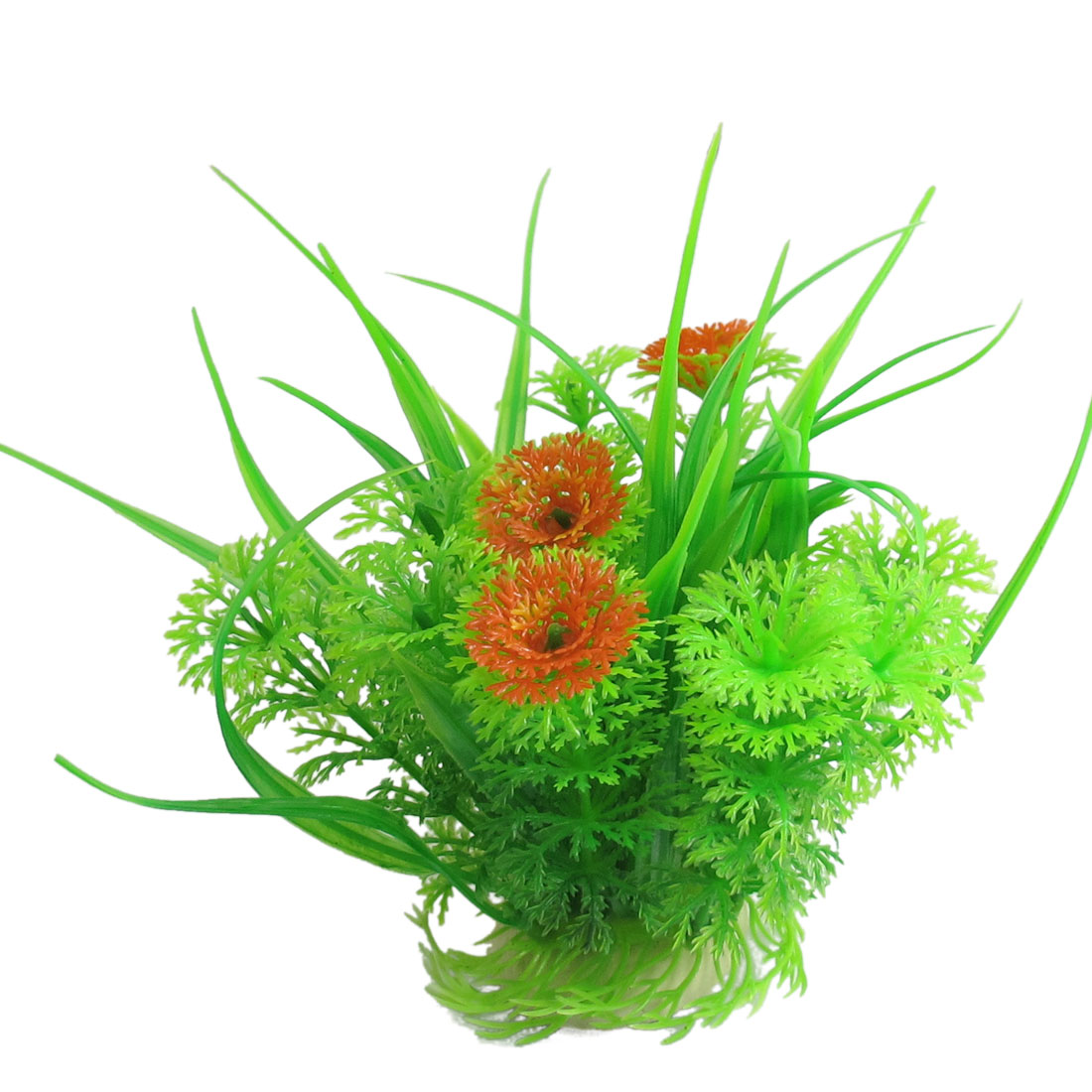 "Aquarium Green Orange Manmade Water Grass Plants Decoration 6.1"" Height"