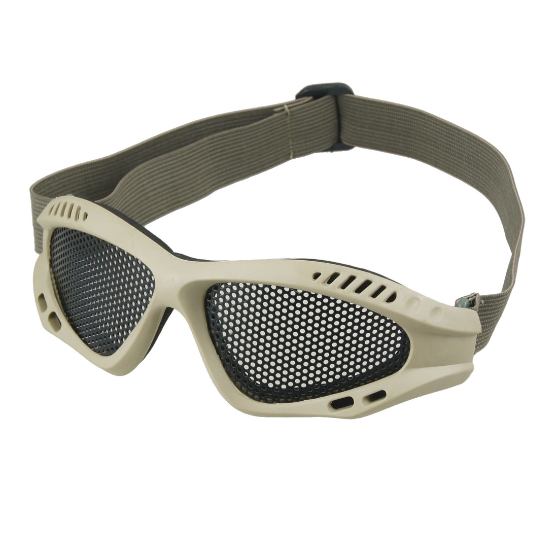 Khaki Plastic Frame Adjustable Gray Elastic Band Mesh Goggles