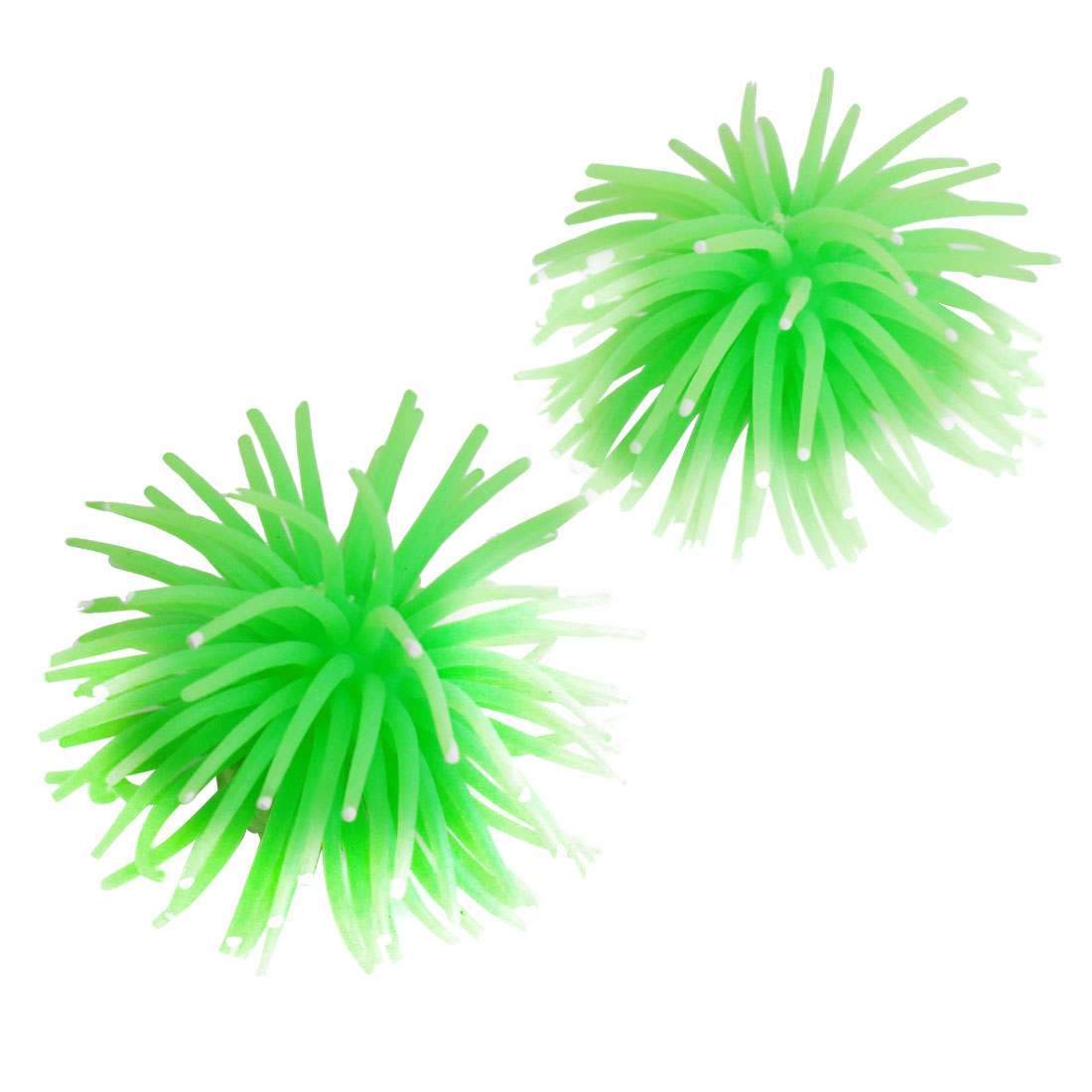 "2"" Ceramic Base Green Soft Silicone Artificial Aquarium Aquatic Ornament Corals 2 Pcs"