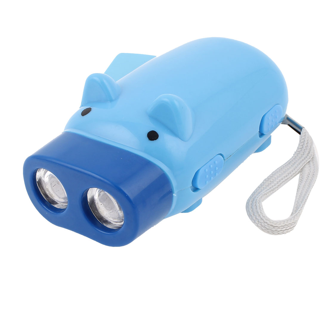 Blue Hand Press Powered Cartoon Pig Shaped 2 LED Flashlight w Strap
