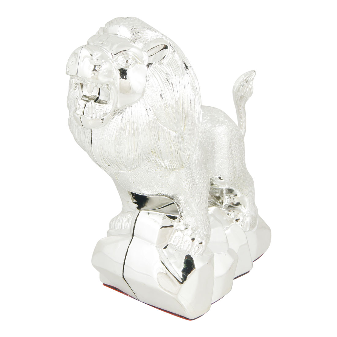 Silver Tone Plastic Lion Head Shaped Car Badge Adhesive Sticker