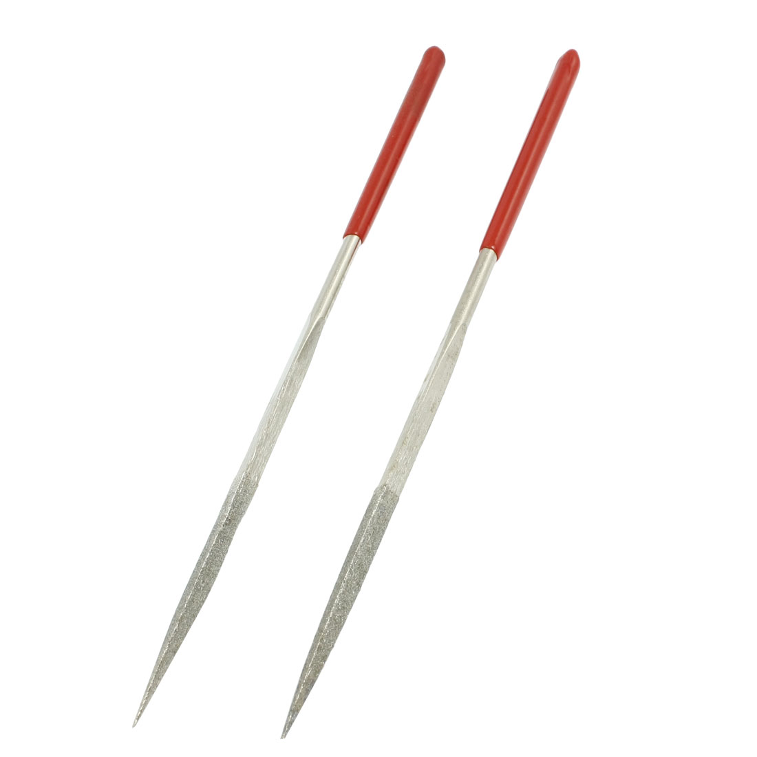 2 Pcs Woodwork 4mm x 163mm Three Square Triangle Needle Files