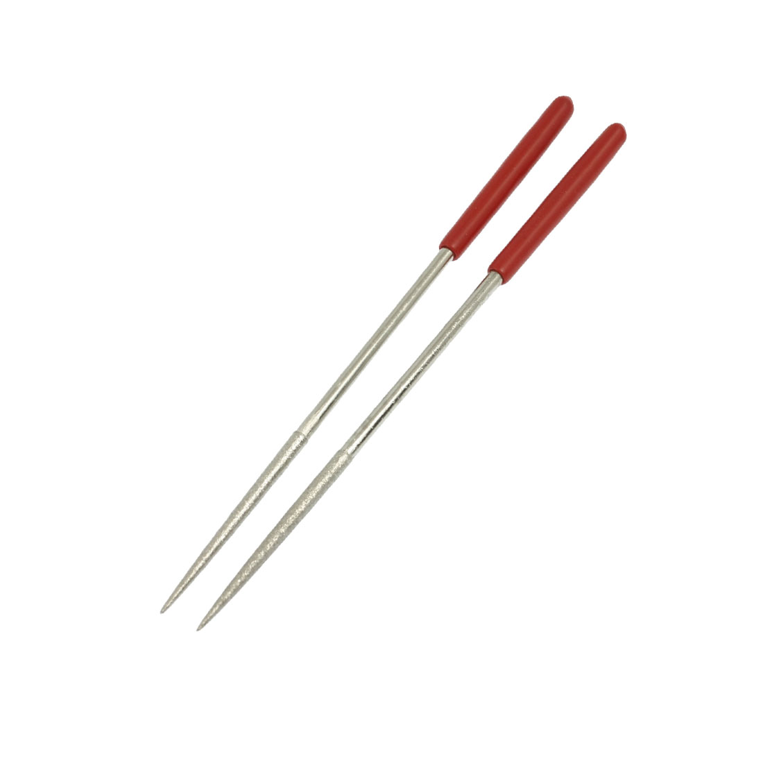 4mm x 160mm Red Handle Lapidary Jeweler Round Diamond Needle Files 2 Pcs