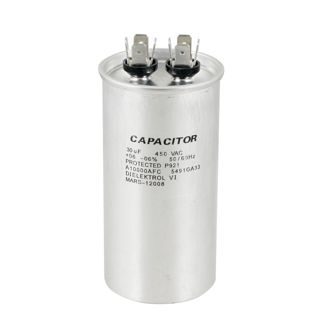 Silver Tone 450VAC 30uF Cylindrical Air Conditioning Motor Running P921 Capacitor