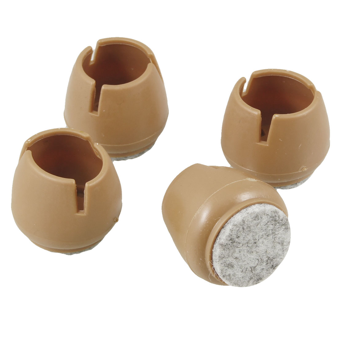 4 Pcs Brown 30mm Diameter Soft Plastic Round Desk Chair Foot Cover Guard