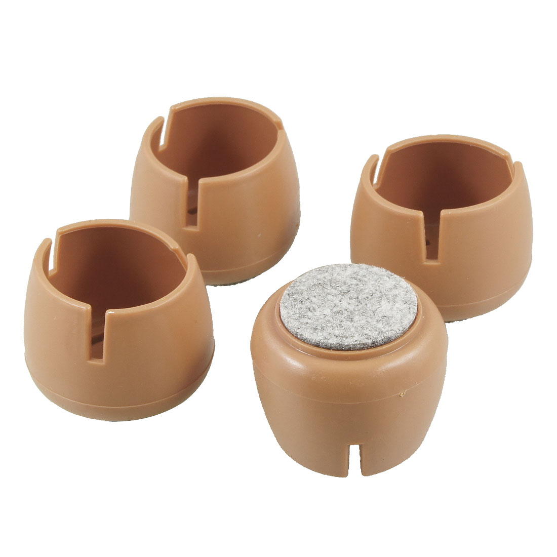 4 Pcs 40mm Dia Brown Wool Felt Base Chair Table Foot Soft Cover Guard