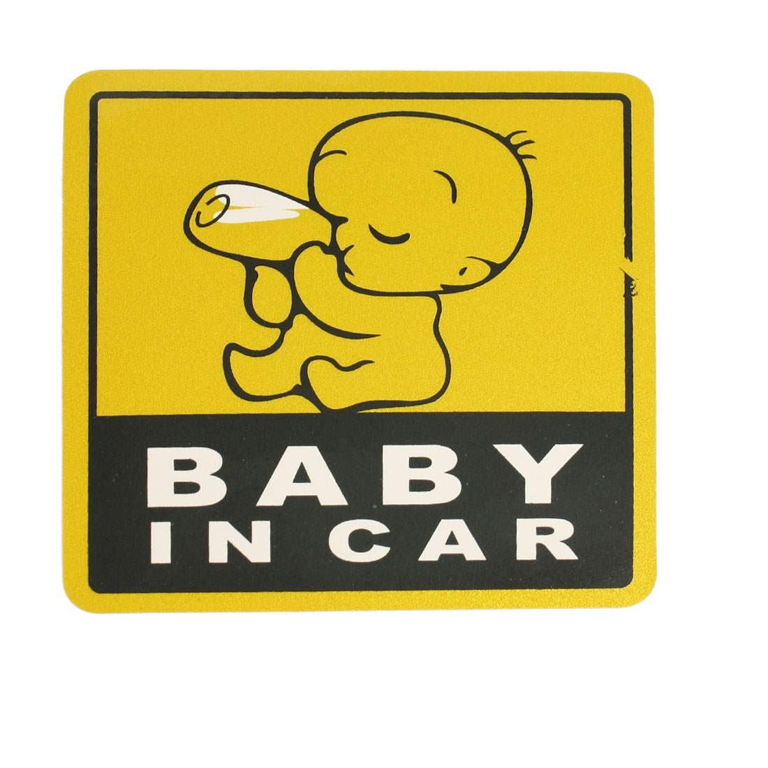 Baby In Car Printed Gold Tone Black Decal Bumper 2D Sticker for Auto