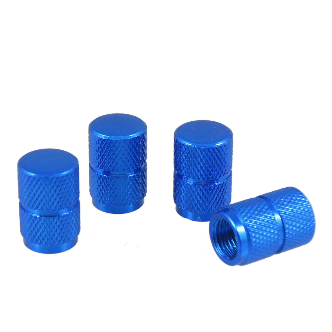 Auto Royalblue Knurling Pattern Tyre Tire Stem Covers Caps x 4
