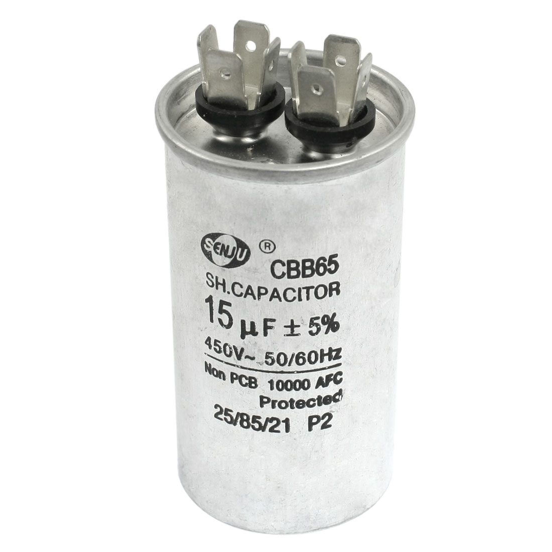 Silver Tone 450VAC 15uF Cylindrical Refrigerator Motor Running Capacitor