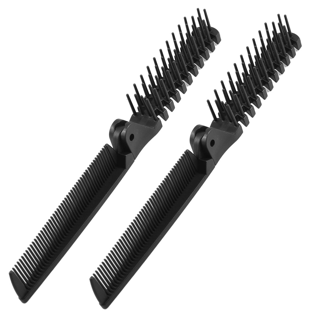 2Pcs Black Fishbone Shape Coarse Fine Teeth 2 Way Foldable Hairdressing Comb