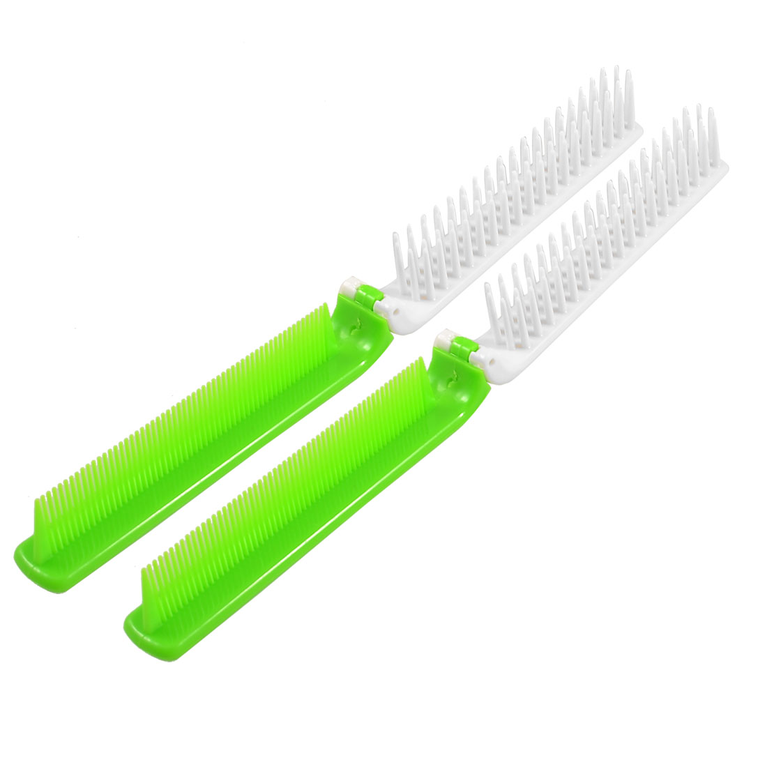 Plastic Coarse Fine Teeth 2 Way Folding Hair Styling Comb Green White 2 Pcs