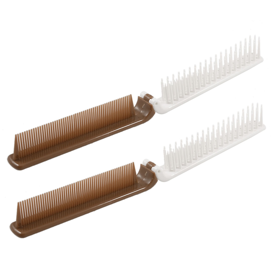 Lady Plastic Coarse Fine Teeth 2 Way Foldable Hair Styling Comb Brown White 2 Pcs