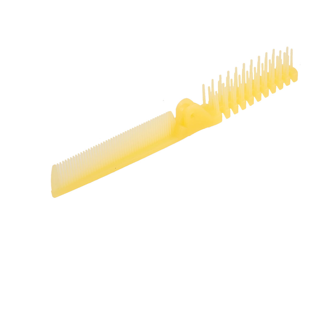 2Pcs Lady Clear Yellow Fishbone Shaped 2 Way Folding Hair Brush Straight Comb