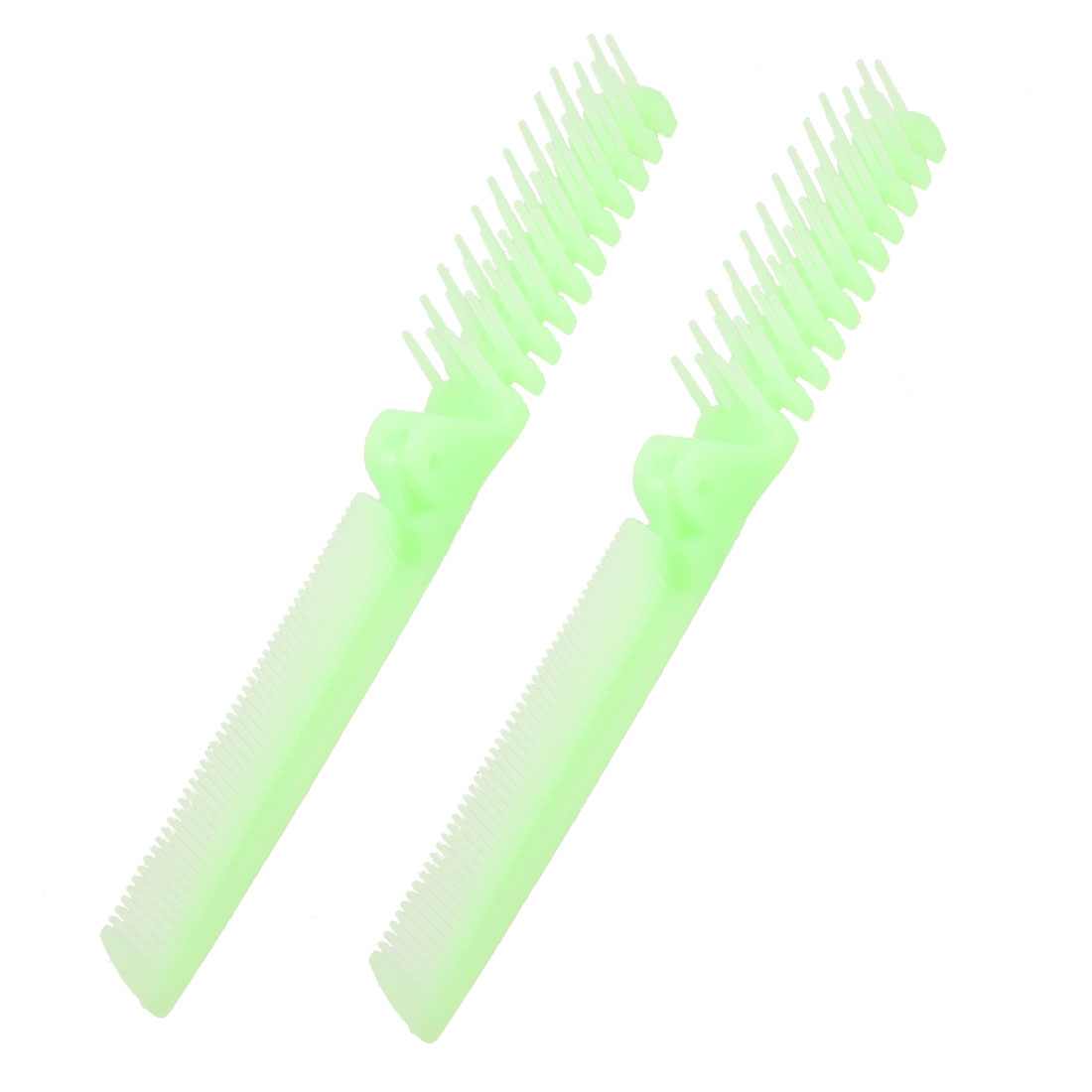 2Pcs Light Green Fishbone Shape Coarse Fine Teeth Foldable Hairdressing Comb