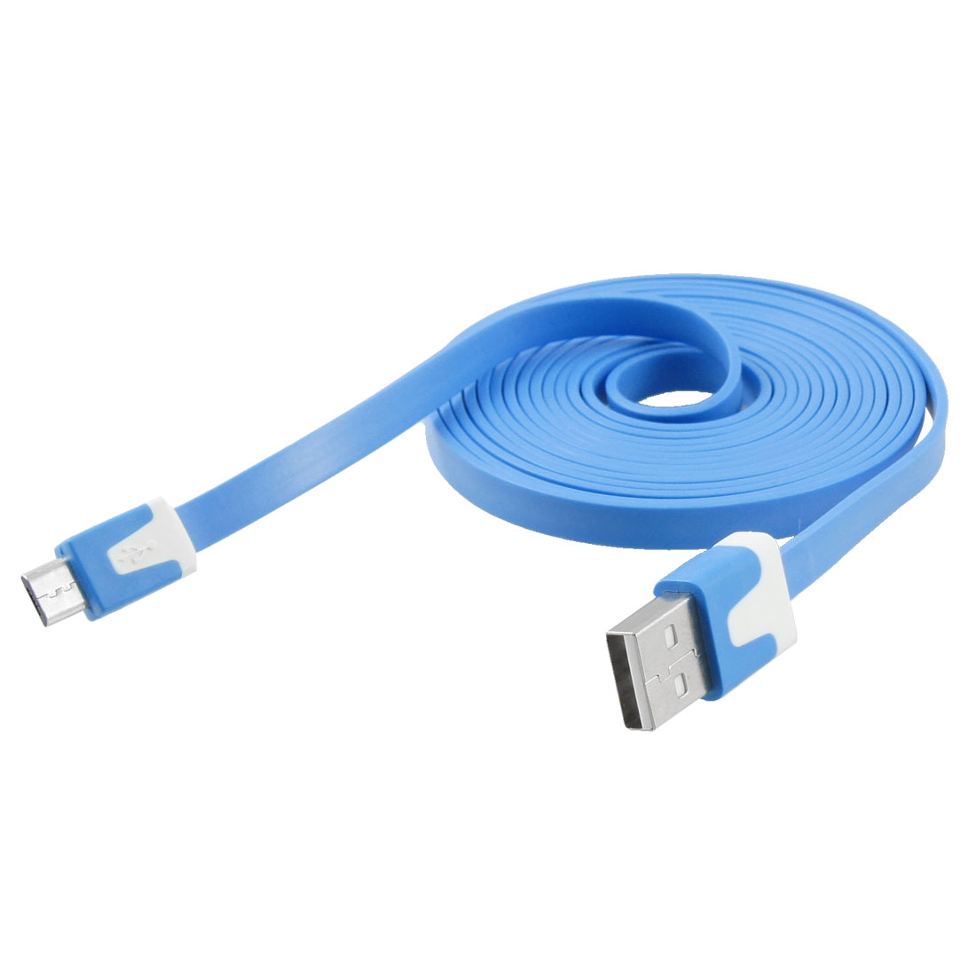 2M Plastic Sync Data Charging Flat Line USB Cable Sky Blue for Motorola V8