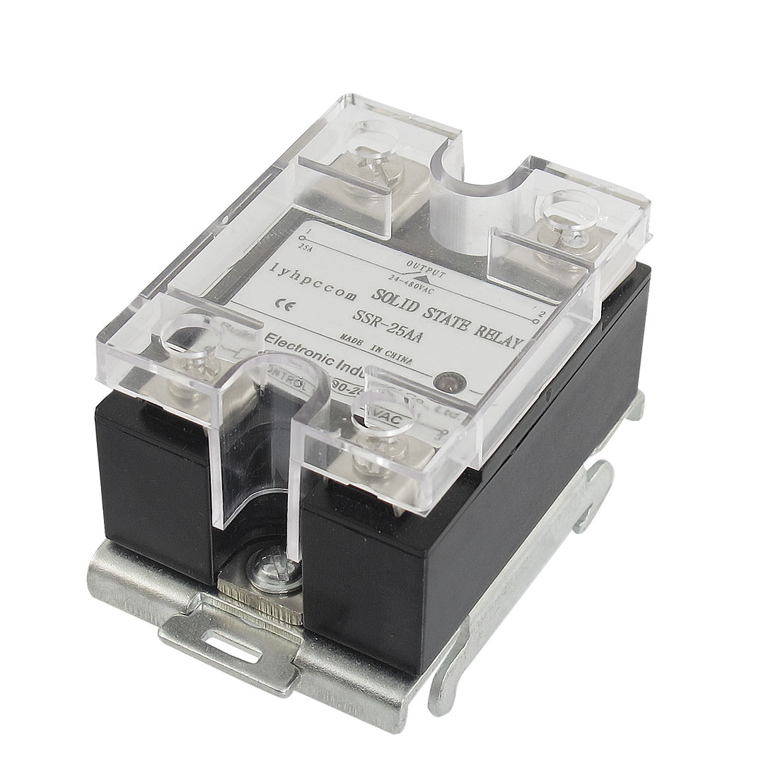 SSR-25AA 25A 90-280V 24-480V AC Solid State Relay Black Clear w Rail Mount Base