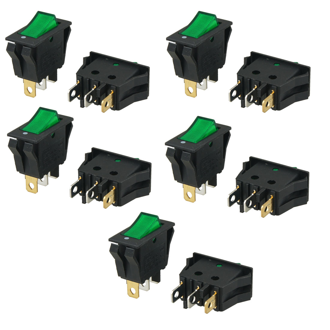 10 Pcs AC 250V/15A 125V/20A Green Indicator Light 3 Pin ON OFF Rocker Switch