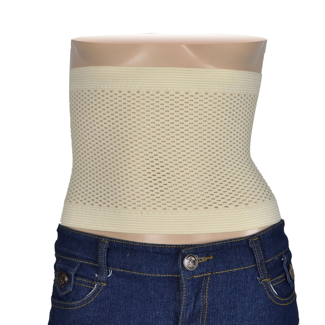 Women 3 Row Eye Hook Holes Style Waist Trimmer Cincher Shaper Beige XL