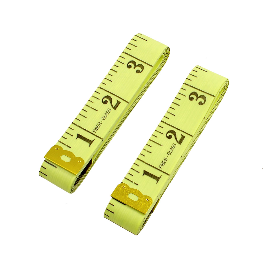 "2 Pcs 60"" 150cm Yellow Soft Fiber Glass Seamstress Sewing Cloth Ruler"