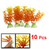 "10 Pcs 3.9"" Height Orange Plastic Plant Decor for Fish Tank Aquarium"