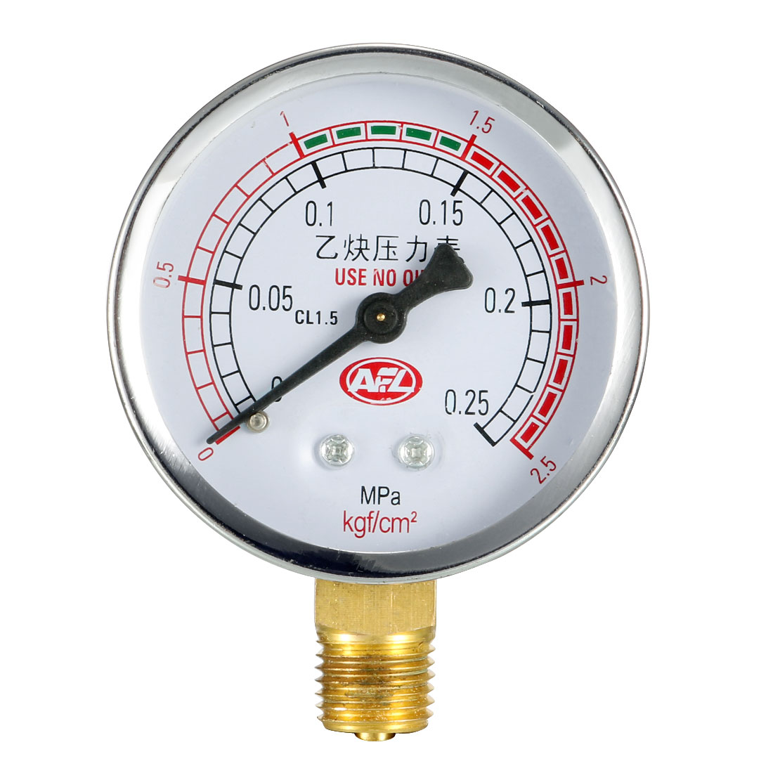 0-0.25MPa 14mm Thread Metal Shell Pneumatic Acetylene Pressure Gauge