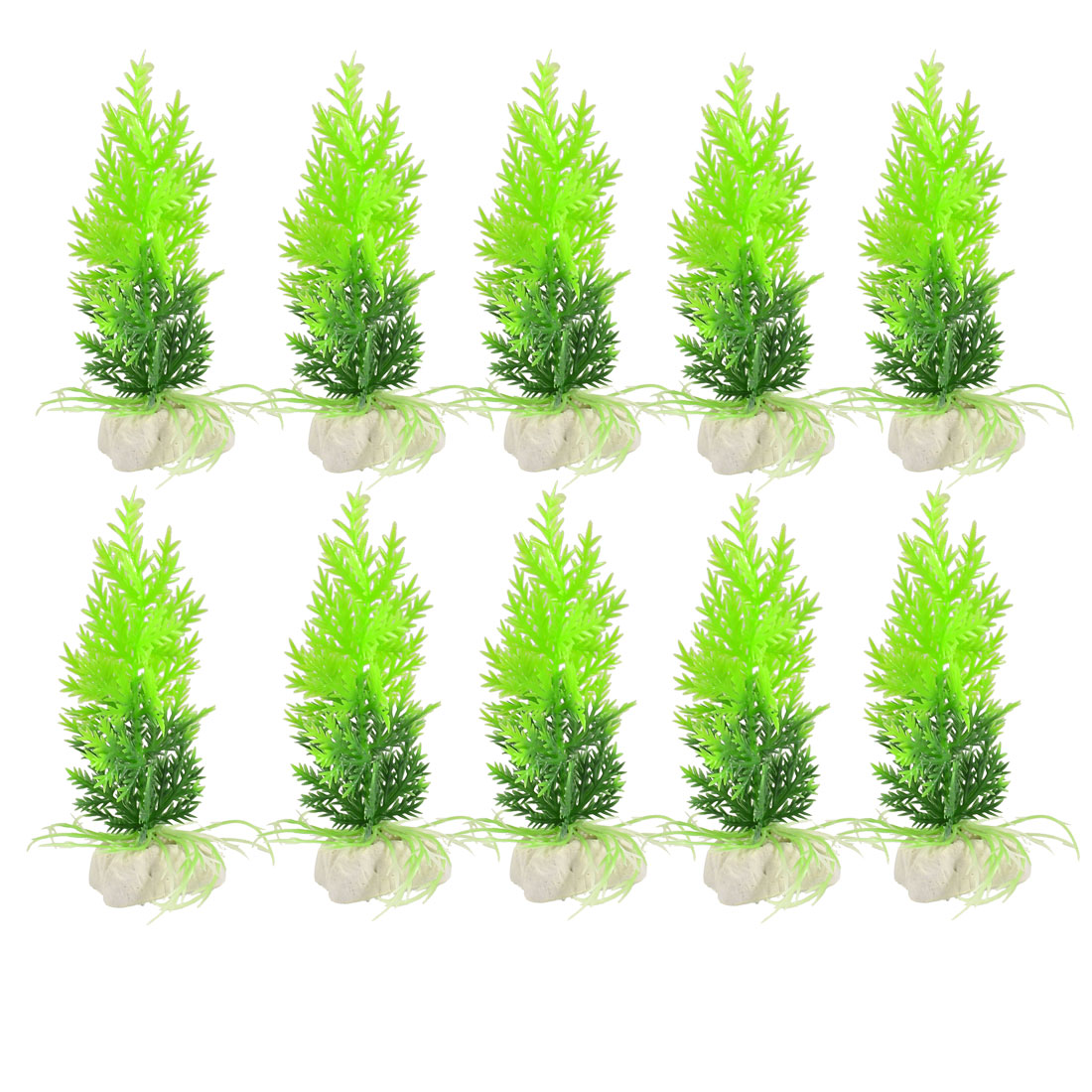Aquarium Landscaping Artificial Green Leaves Fish Tank Ornament Plants 10 Pcs