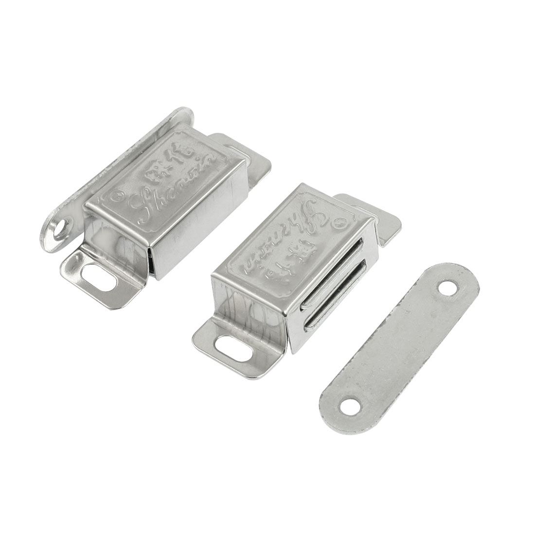 2 Pcs Stainless Steel Silver Tone Cupboard Door Magnetic Catch Latch 2""