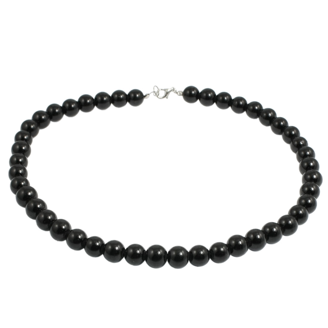 Connected Black Polished 44 Plastic Beads Necklace for Man