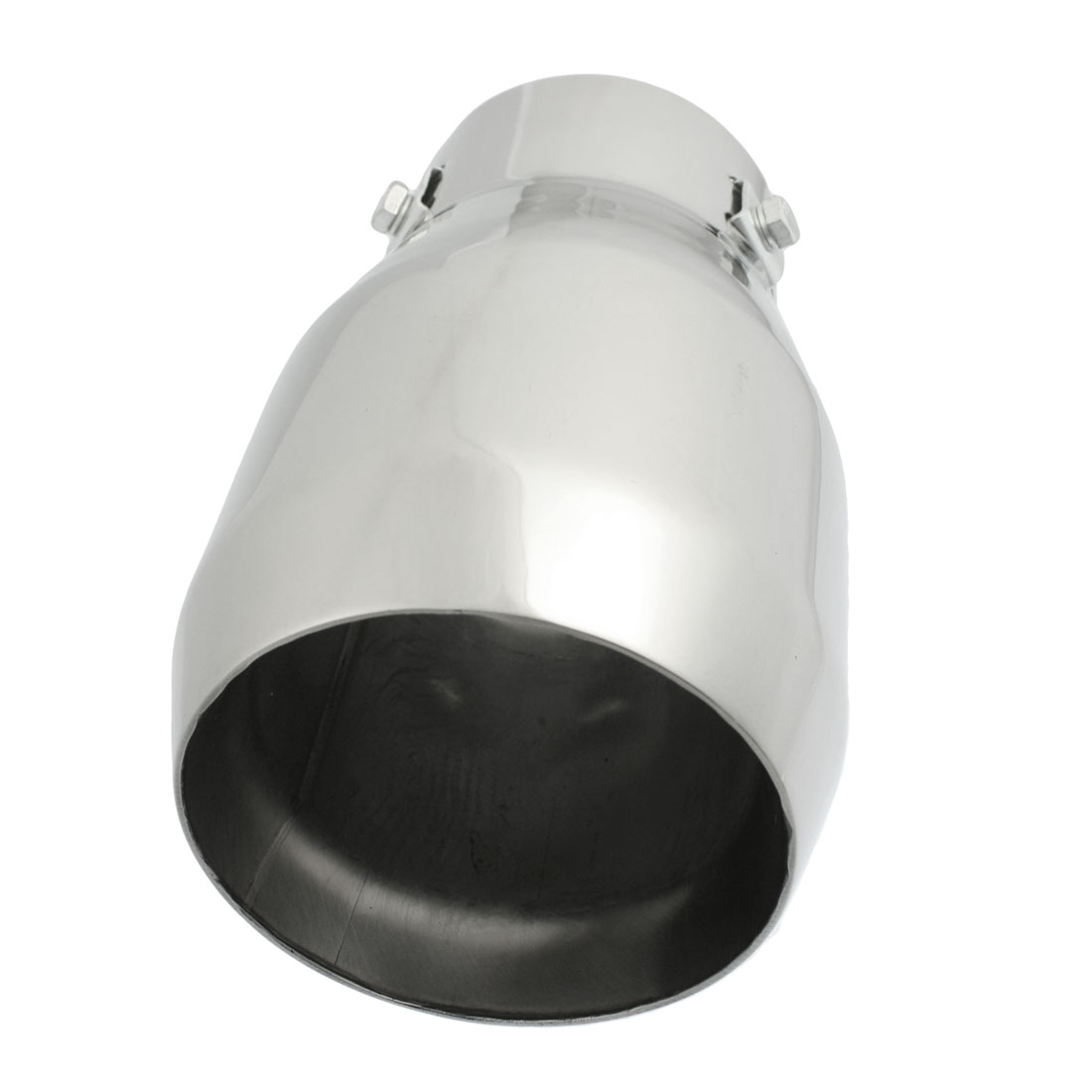 """Silver Tone 2.9"""" Dia Inlet Exhaust Pipe Silencer Tail Muffler Tip"""
