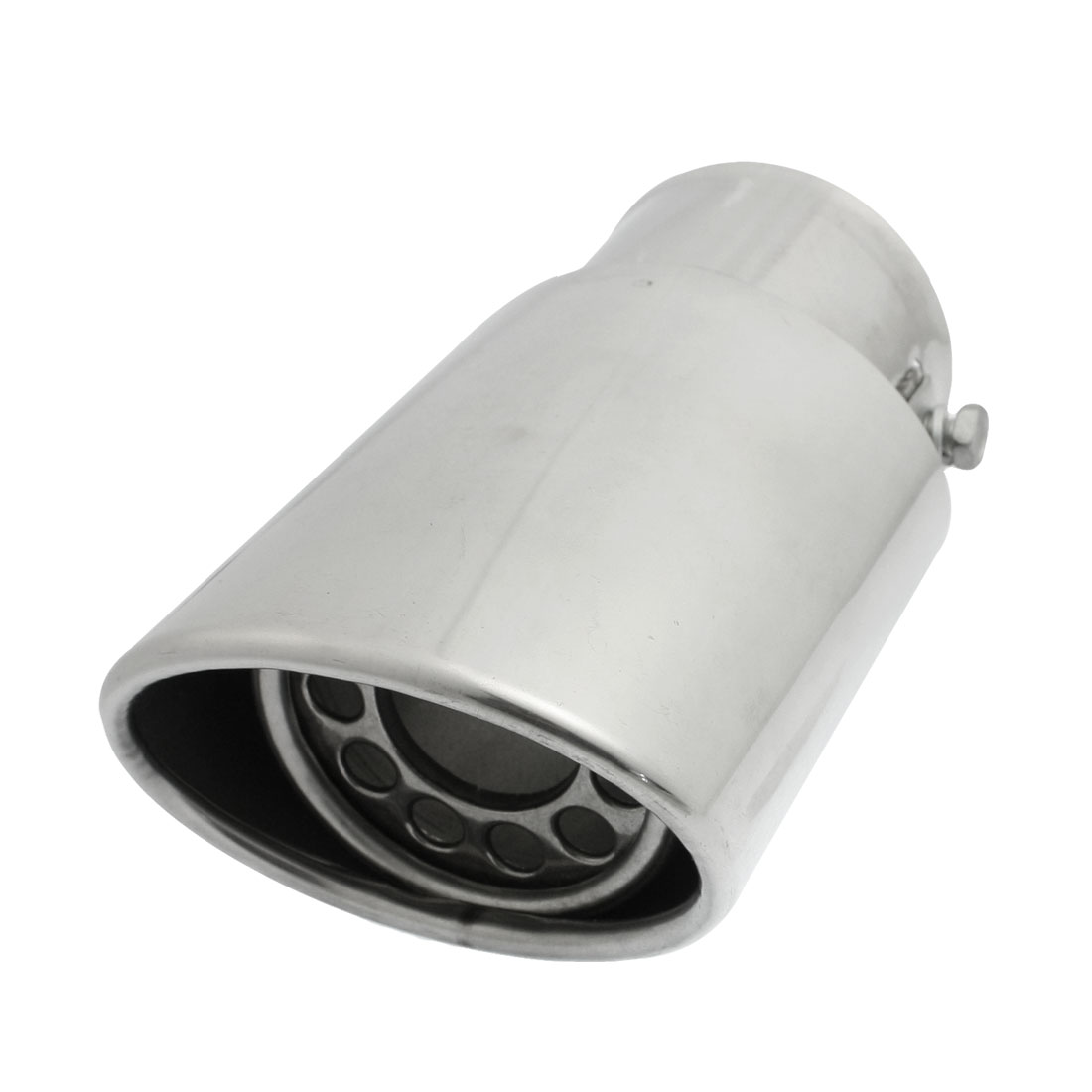 "Silver Tone 2.4"" Dia Inlet Exhaust Pipe Silencer Tail Muffler Tip"