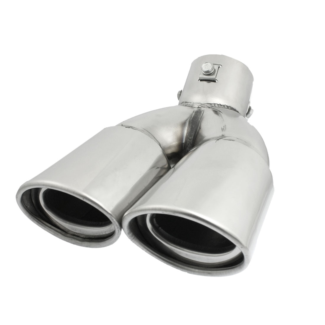 "Silver Tone 2.4"" Diameter Inlet Exhaust Pipe Silencer Tail Muffler Tip"