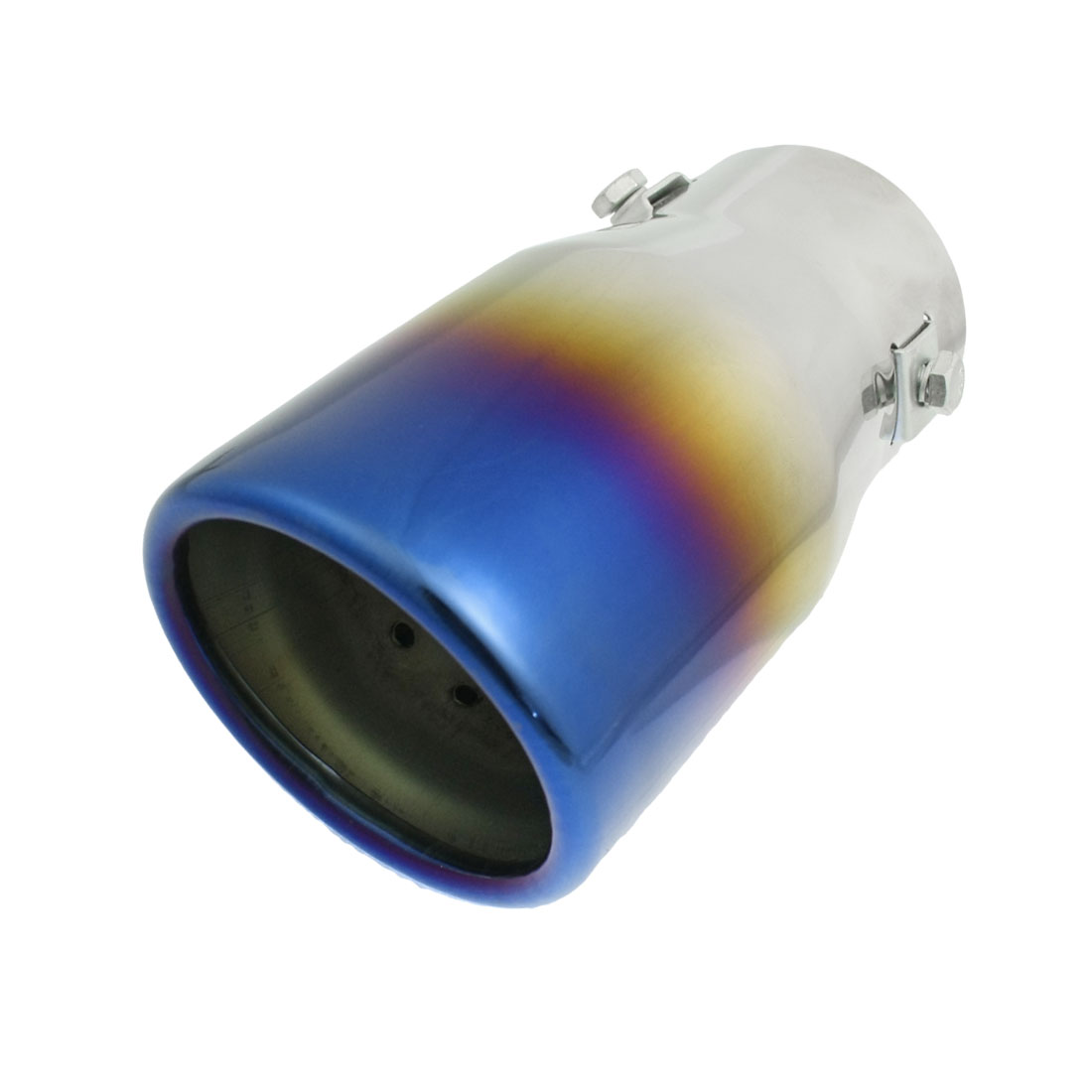 "Silver Tone Titanium Blue 2.5"" Inlet Exhaust Pipe Silencer Tail Muffler Tip"