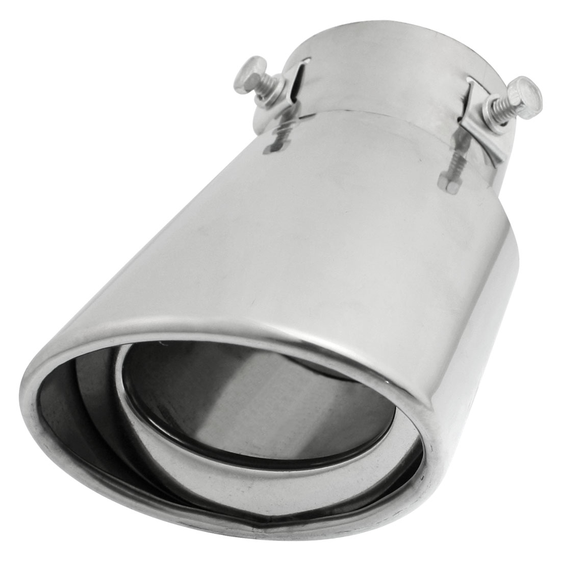 "Silver Tone Metal 2.4"" Inlet Exhaust Pipe Silencer Tail Muffler Tip"