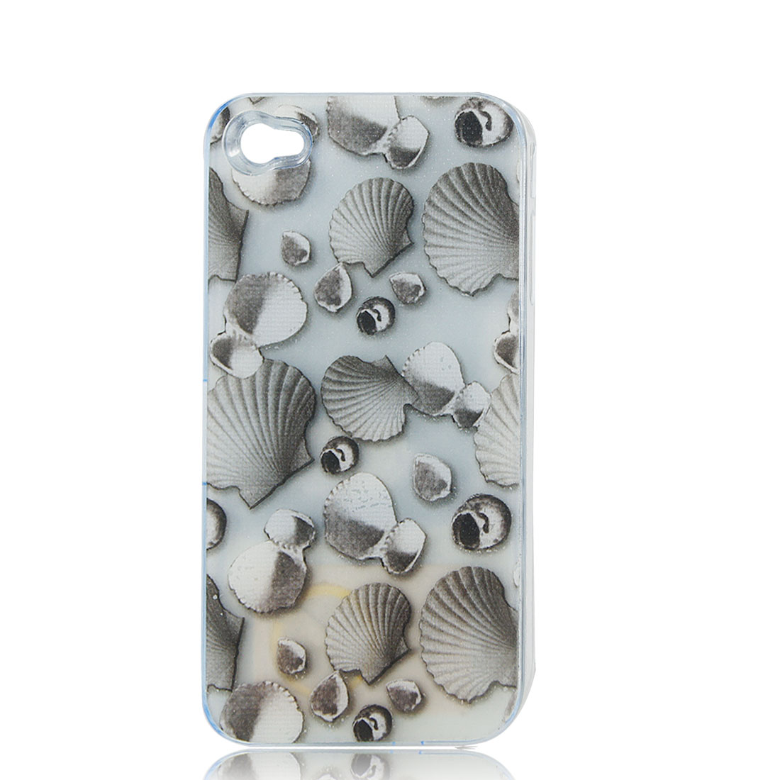 Gray Sea Shell Print Sense Flash Light LED Color Changed Hard Back Case Cover for iPhone 4 4S