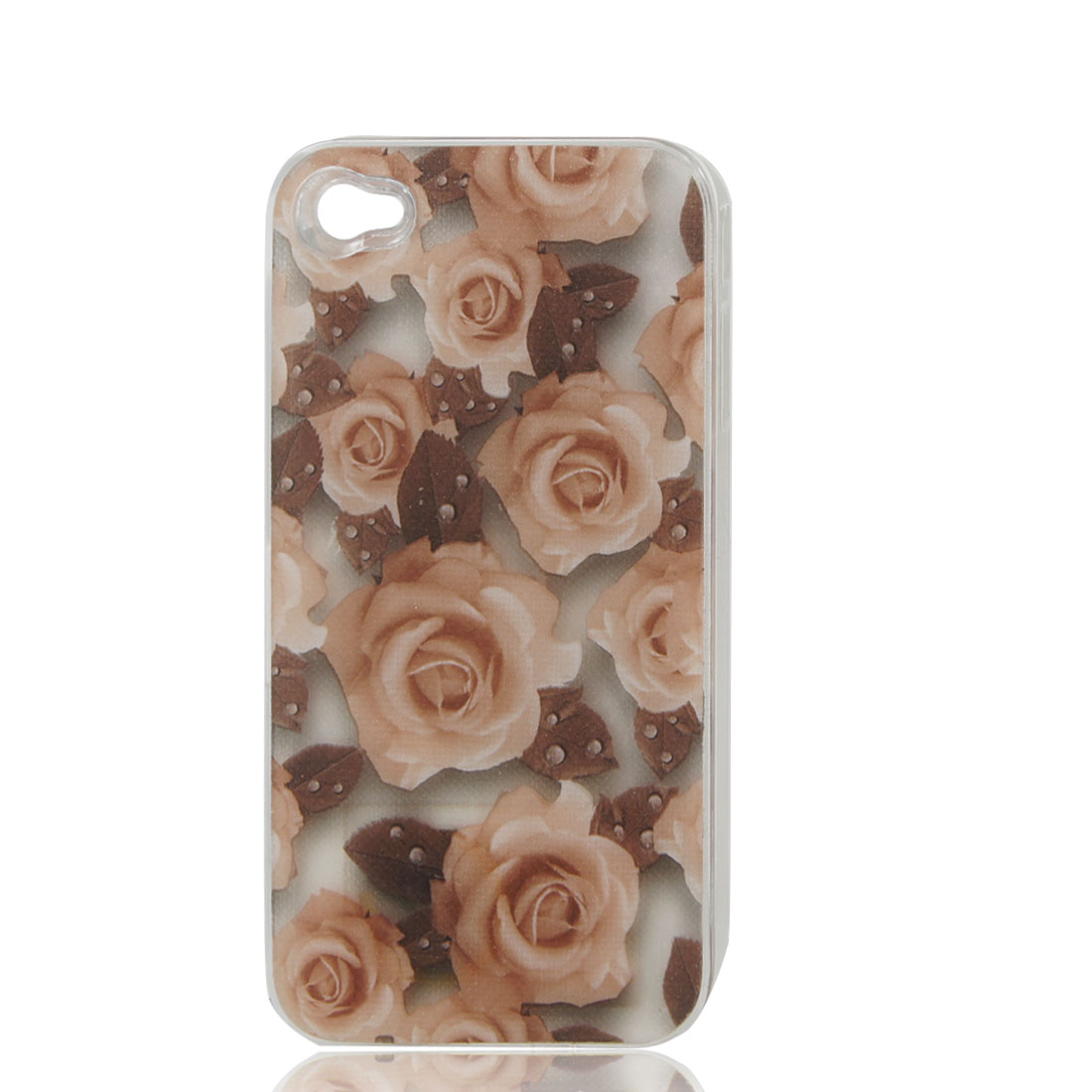 Rose Flower Print Sense Flash Light LED Color Changed Hard Back Case Cover for iPhone 4 4S