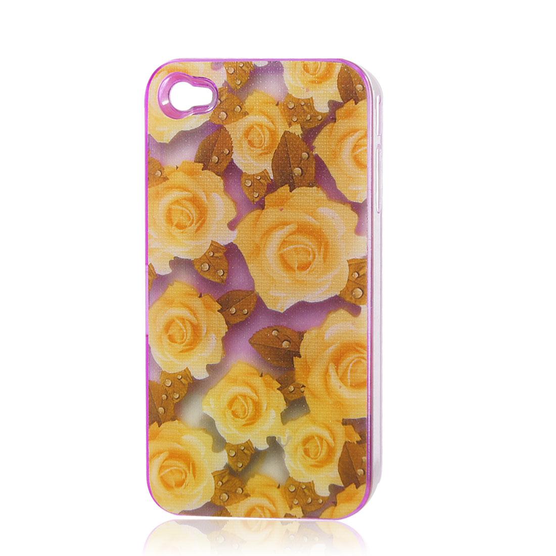 Pale Orange Roses Sense Flash Light LED Color Changed Hard Back Case Cover for iPhone 4 4S