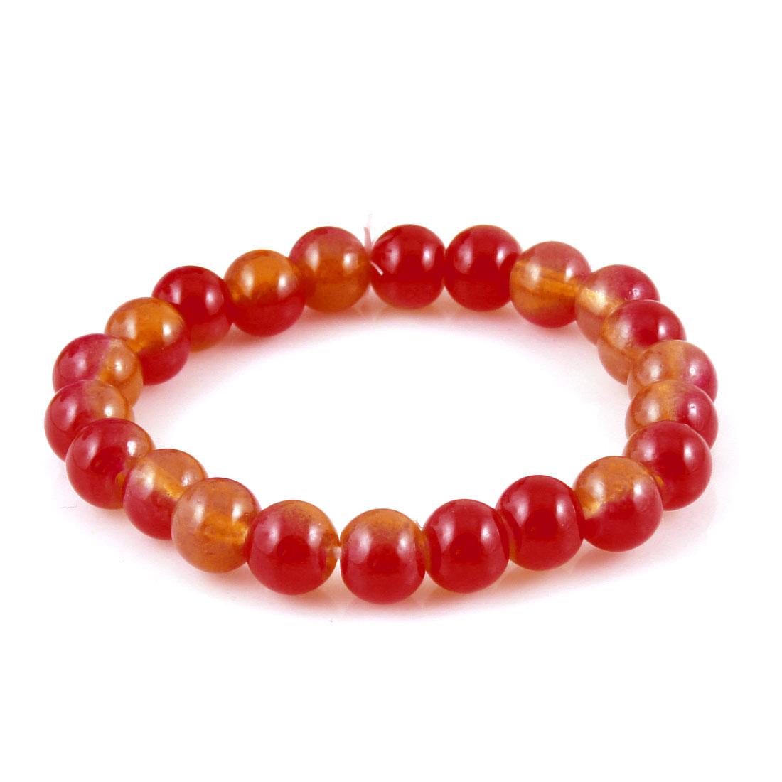 Orange Red Glass 22 Beads Elastic Bracelet Bangle for Women
