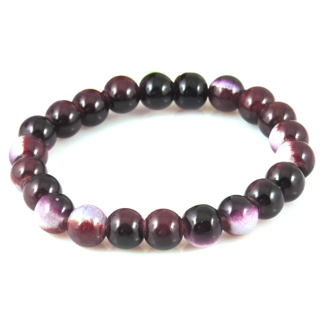 Lady Women Wrist Decor Purple Black Round Beads Elastic Bracelet