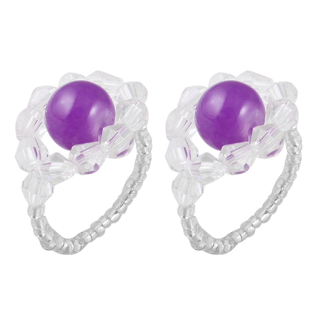2 Pcs Women Faceted Round Bead Finger Ring White Purple US 6