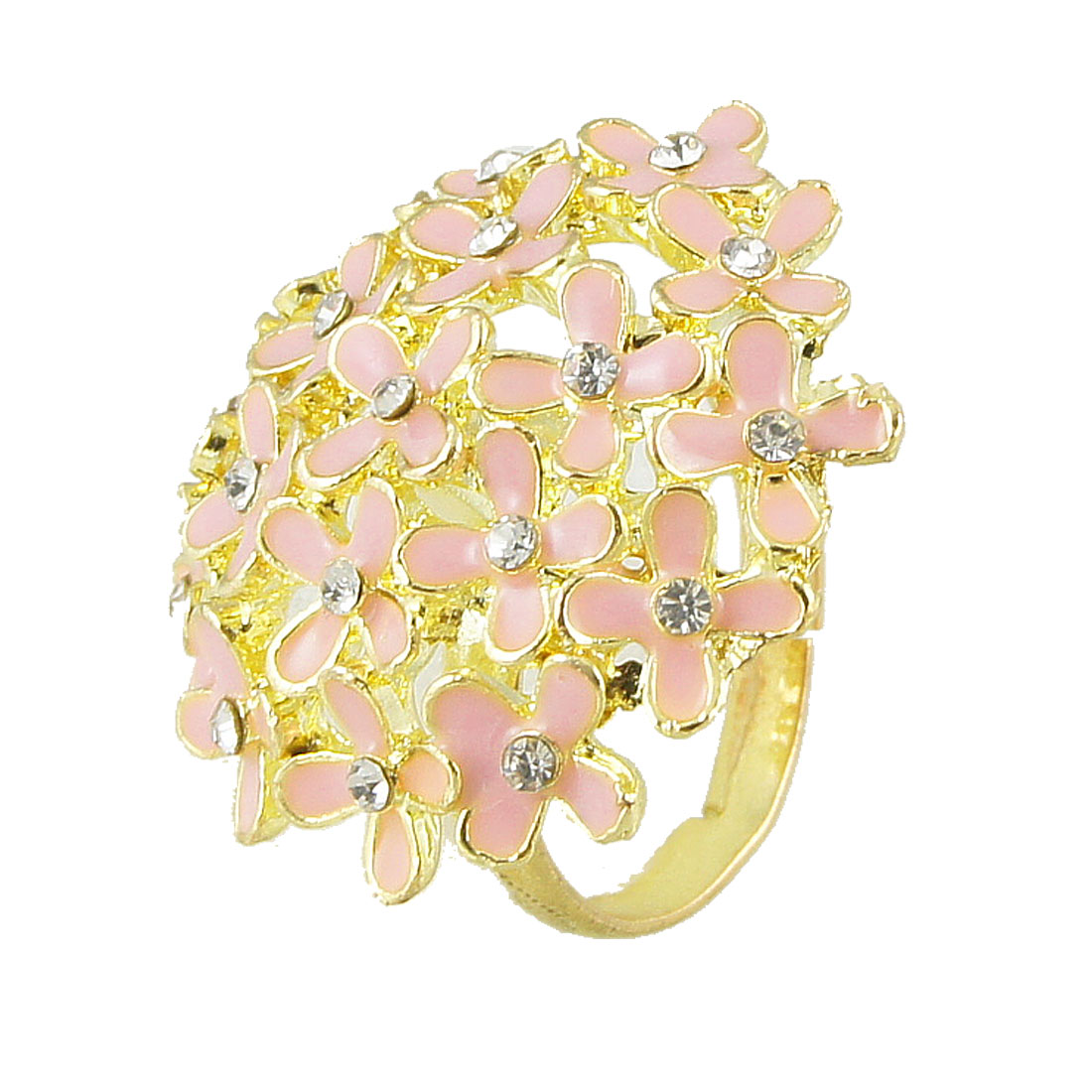 Lady Rhinestone Inlaid Light Pink Flower Cluster Gold Tone Finger Ring US 6 1/2
