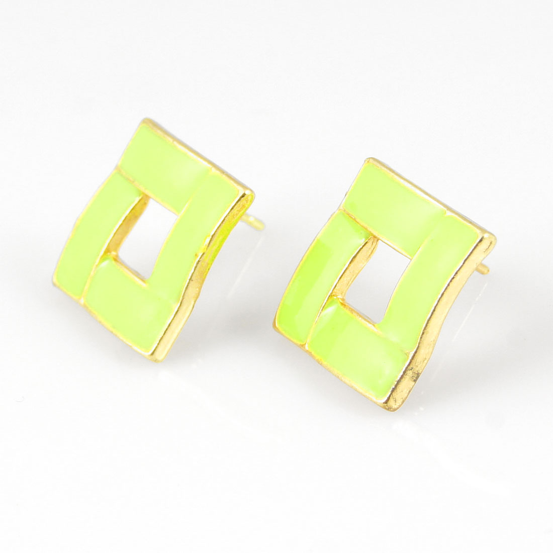 Pair Hollow Square Accent Mini Stud Earrings Pale Green for Lady