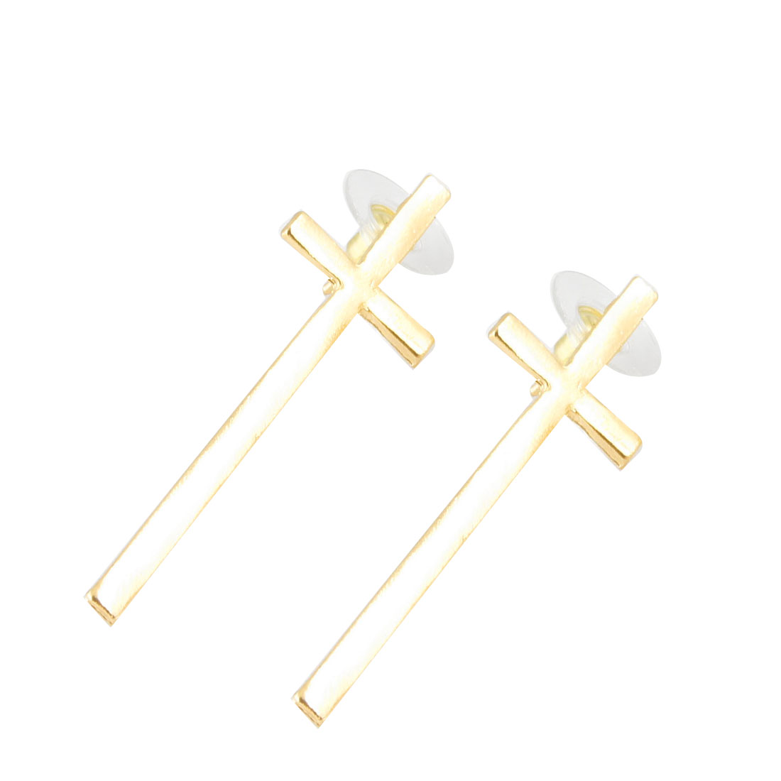 Pair Ears Decoration Metal Cross Shape Mini Stud Earrings Gold Tone for Lady