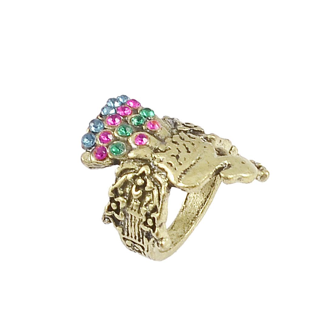 Women Bronze Tone Rhinestone Decor Peacock Shaped Ring Finger Decor US 4