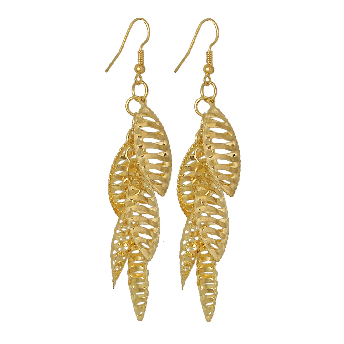 Gold Tone Hollow Out Leaf Pendant Dangle Earrings for Lady Woman