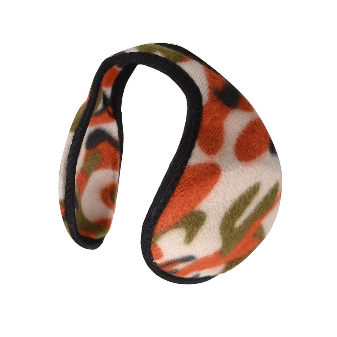White Red Camouflage Printed Fleece Back Wear Earmuffs Ear Warm Protector for Men Women