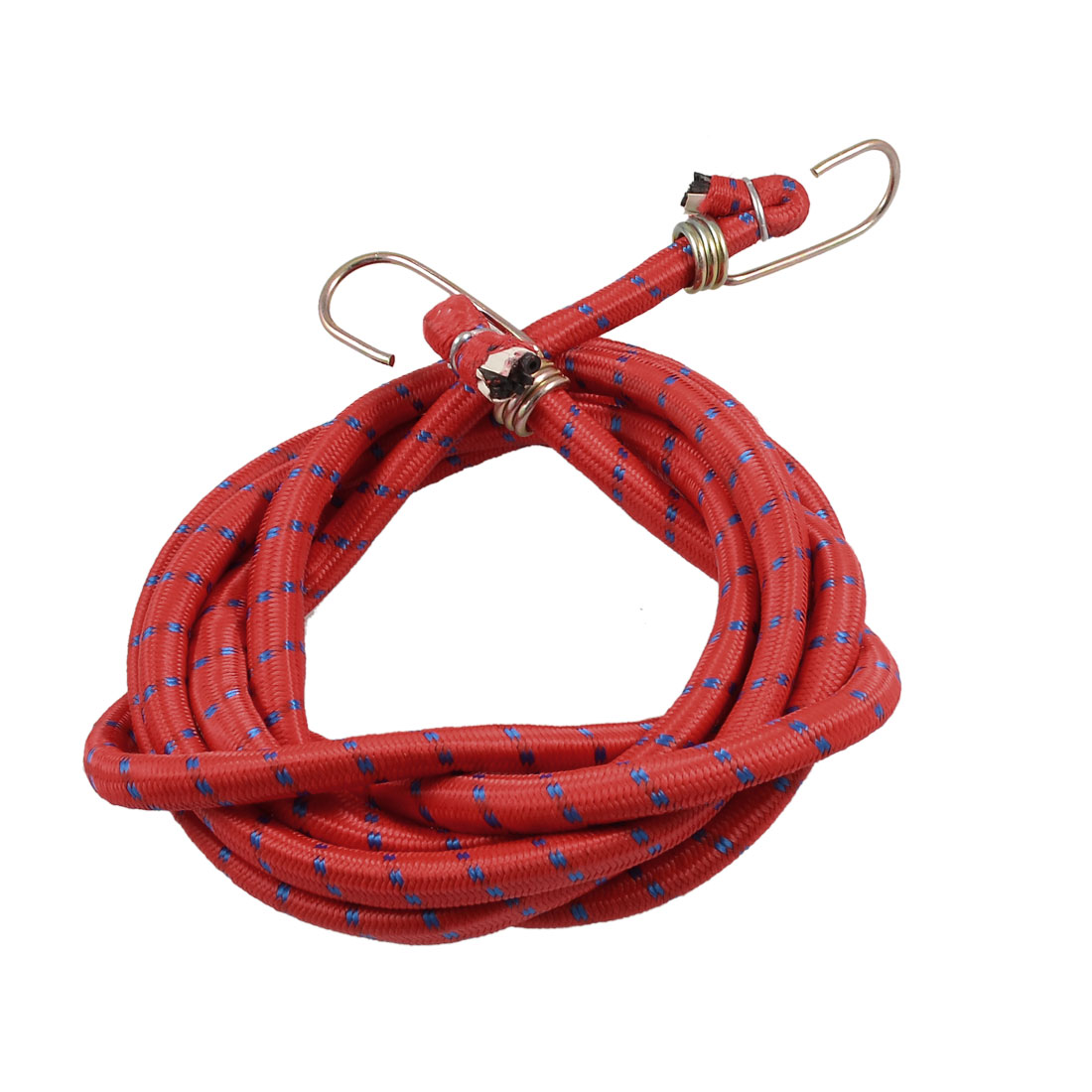 Metal Dual Hooks Blue Striped Nylon Round Motorcycle Luggage Cord Red 2.6 Meters