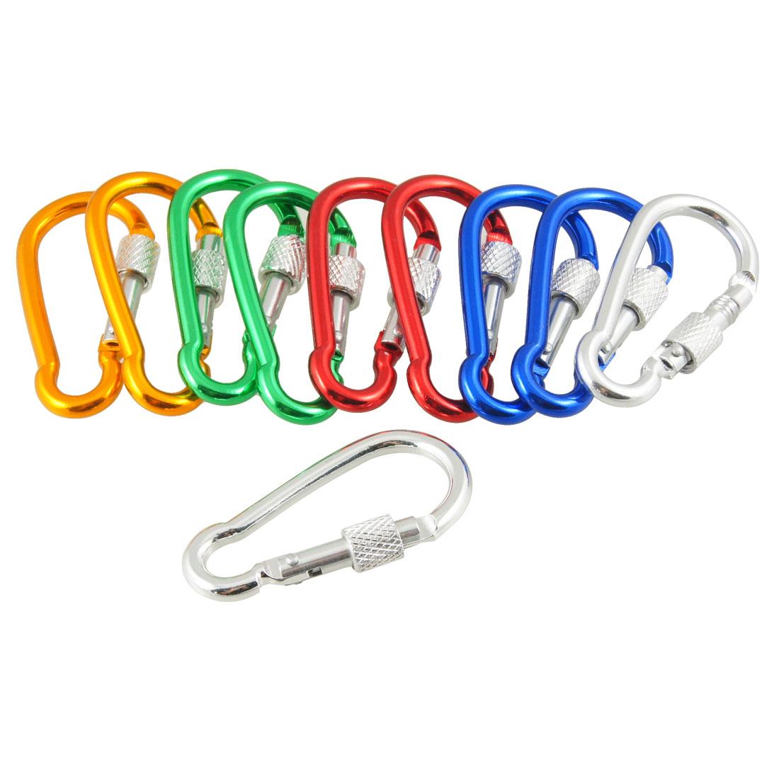 10 Pcs Assorted Color Aluminum Alloy Carabiner Clip Hook Bottle Holders