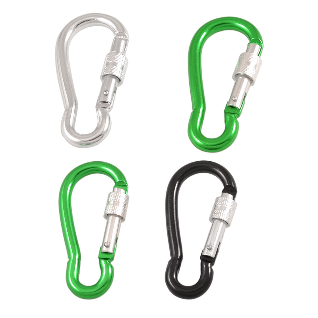 4 Pcs Assorted Color Spring Loaded Gate Aluminum Alloy Lockable Carabiner Hooks