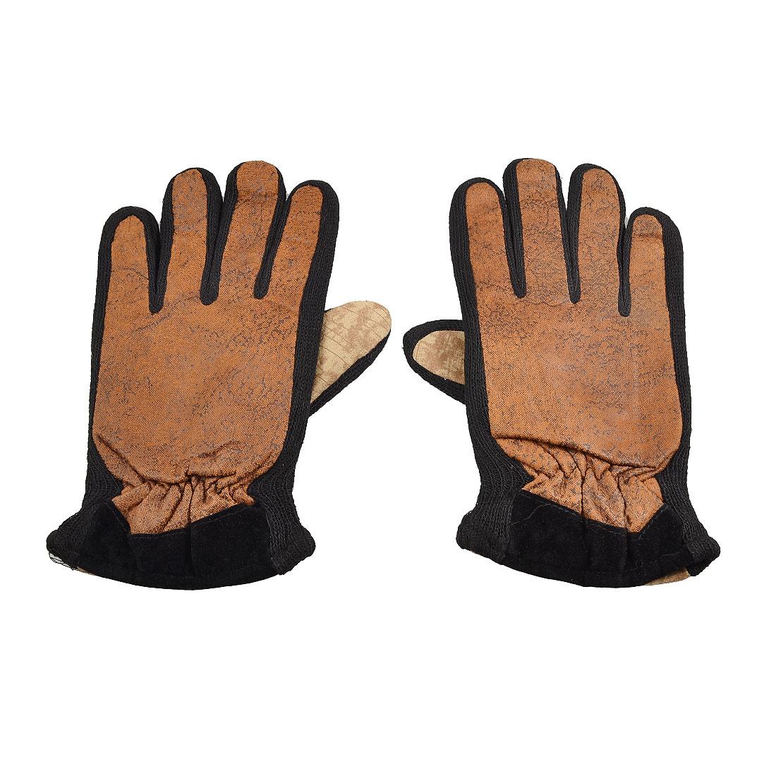 Pair Black Acrylic Brim Fleece Lining Full Fingers Winter Gloves Beige Brown